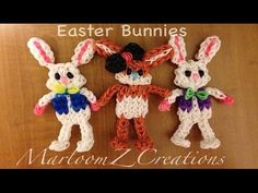 Rainbow Loom EASTER BUNNY (new version). Designed and loomed by MarloomZ Creations. Click photo for YouTube tutorial. 03/25/14.