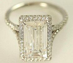 gorgeous emerald cut diamondwith halo setting by tatyanahill