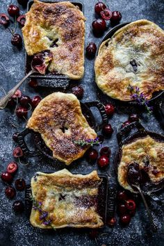 Mini Cherry & Lavender Skillet Pies are a delight summer treat! Fresh cherries and lavender tossed together then poured into a cast iron skillet and topped with a golden puff pastry crust. This will be in your go-to pie rotation all year round! Easy To Make Desserts, Sweet Desserts, Cherry Desserts, Honey Recipes, Baking Recipes, Vegan Recipes, Mini Pies, Sweet Tarts, Pie Dessert