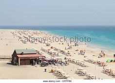 Beach bar near Morro Jable at Jandia, Fuerteventura, Canary Islands, Spain - Stock Image
