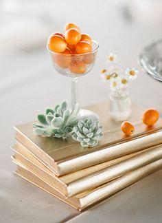 kumquat, succulent, and gold centerpiece | Laura Leslie #wedding