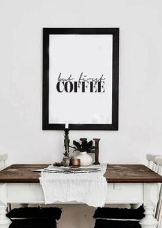 But First Coffee Typography Poster Wall Art by lettersonlove