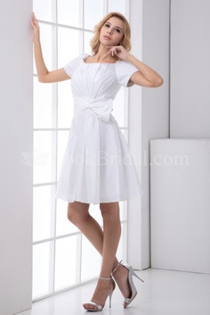 A-Line Scoop Knee-Length Taffeta Mother of The Bride Dress with Pleats