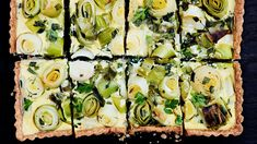 This vegetable tart showcases spring leeks, scallions, and goat cheese. A buttery rye and black pepper tart crust ties it all together. Cheese Tarts, Goat Cheese, Easter Appetizers, Appetizer Recipes, Brunch Recipes, Yummy Pasta Recipes, Bhg Recipes, Leek Recipes, Side Dishes