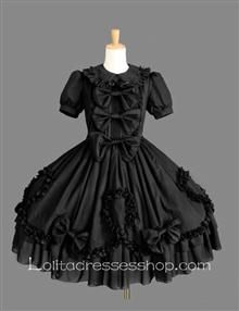 Black Cotton Doll Collar Short Sleeves Ruffles Bow Fashion Gothic Lolita Dress