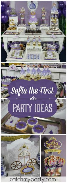Look at this pretty, purple Sofia the First princess party! See more party ideas at Catchmyparty.com!