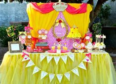 Princess Belle from Beauty and the Beast theme party table
