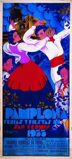 Cartel de los Sanfermines de 1933 - Fiestas y ferias de San Fermín, Pamplona :: Autor: Jesús Ramos Rosas #Pamplona