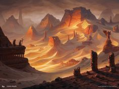 Amonkhet MtG Art - Art of Magic: the Gathering Concept Art Landscape, Fantasy Art Landscapes, Fantasy Concept Art, Fantasy Landscape, Fantasy Artwork, Landscape Art, Landscape Materials, Fantasy City, Fantasy Map