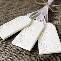 Faith, Hope, Love - Lacey Embossed Clay  Gift Tags/Decorations  (3)