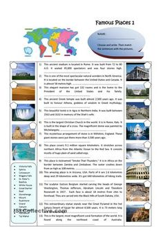 Descriptions of Famous Places around the world. It can be used as warm-up…