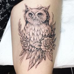Sketchy style owl on thigh Owl Thigh Tattoos, Body Art Tattoos, Sleeve Tattoos, Animal Thigh Tattoo, Owl Tattoos, Tattoo Designs, Owl Tattoo Design, Tattoo Ideas, Cute Tiny Tattoos