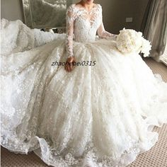 Superb Luxury Bead Appliques Long Sleeve Wedding Dresses Bridal Gowns Cathedral Train