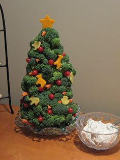 DIY Vegetable Christmas Tree with Snowy Ranch Dip