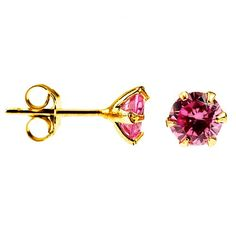 Exxotic gold plated festive special 925 sterling silver pink American diamond stud earring