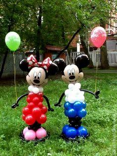 Праздничная атрибутика ручной работы. Ярмарка Мастеров - ручная работа Микки-маус и Минни-маус из воздушных шаров. Handmade.