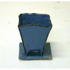 空色角植木鉢Sサイズ(受け皿付き) - 手作り陶器のお店*工房歩知歩智(ぼちぼち)