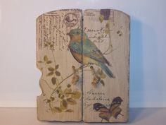 painted wood hanging key box w/bird detail