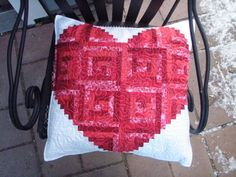 Valentine Heart Quilted Pillow Cover red and by MooseCarolQuilts, $95.00