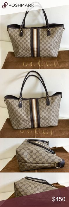 fef44400a27 Authentic Gucci large tote monogram brown canvas Authentic Gucci large  tote  Shoulder bag. Made