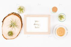 Styled brown frame with coffee 0102 by JustLikeMyDesktop on Creative Market Air Plants, Design Elements, Coffee Cups, Your Design, Create Your Own, Behance, Graphic Design, This Or That Questions, Product Mockup