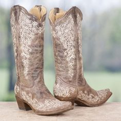 JUST BOUGHT THESE BEAUTIES! I cannot wait until they arrive! Corral Ladies' Brown Crater Embroidery Boots