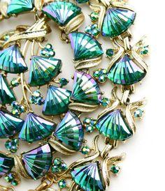 Vintage Signed Coro Repair Lot - Matching Necklace, Bracelet, Brooch Aurora Borealis Gold Tone Fix, Repurpose / Demi Parue Rainbow Fans