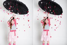 You can totally DIY this raining heart photo shoot.