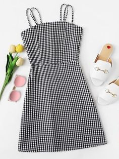 Zip Up Back Plaid Cami DressFor Women-romwe Source by klickfatrendy outfit Girls Fashion Clothes, Teen Fashion Outfits, Outfits For Teens, Summer Outfits, Girl Outfits, Cute Casual Outfits, Stylish Outfits, Casual Dresses, Jean Dresses