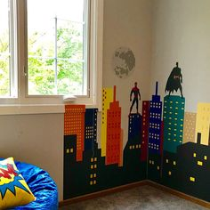 Super Hero City Wall Decal Batman Wall Decal Fabric Sticker Peel and Stick, Repositionable and Reusable Buildings Boys Room Boys Superhero Bedroom, Marvel Bedroom, Boys Bedroom Decor, Childs Bedroom, Boy Decor, Bedroom Ideas, Batman Room, Gotham Batman, Avengers Room