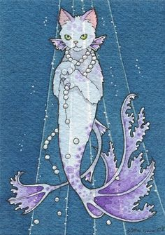 Deep Sea Diva Mercat by Brenda Saydak Mermaid Cat, Mermaid Dolls, Mermaid Illustration, Illustration Art, Fantasy Creatures, Sea Creatures, Gatos Cats, Mermaids And Mermen, Sea Art