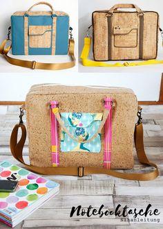 Notebooktasche, Aktentasche, Businesstasche selbernähen, Nähanleitung und Schnittmuster, aus Korkstoff oder Leder nähen, für einen Laptop, Aktenordner, nähen