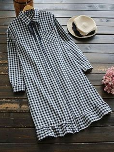 #SheIn - #SheIn Gingham Lace Up Frill Trim Shirt Dress - AdoreWe.com