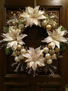 Christmas Wreath Ivory and Gold Christmas Wreath in 24 inch diameter