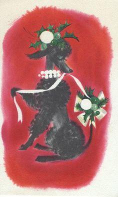Vintage Christmas Poodle Card posted by redlandspoodles.com