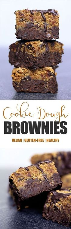 Cookie Dough Brownies Vegan, Gluten-free & Refined Sugar-free These are probably my favourite creation to date, not only because they taste absolutely delicious and decadent, they're also probably the healthiest treat I've made so far… Vegan Dessert Recipes, Gluten Free Desserts, Dairy Free Recipes, Baking Recipes, Diabetic Recipes, Date Recipes Healthy, Fudge Recipes, Baking Tips, Bread Baking