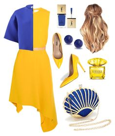 """Yellow and blue"" by anastasiasu on Polyvore featuring мода, Victoria Beckham, Jil Sander, Yves Saint Laurent, Versace и Bling Jewelry"