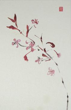 Lilith Ohan - Sumi-e Japanese Watercolor, Japanese Painting, Floral Watercolor, Sumi E Painting, China Painting, Japanese Prints, Japanese Art, Asian Flowers, Art Japonais