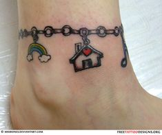 Ankle bracelet tattoo (with charms) I want this on my right ankle but with charms I like.