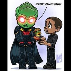 """Drop Something?"" J'onn meet John (who are both named David!) I think it's hilarious how Dig's always eating when he gets surprised by supered powered characters @davidpaulramsey @davidharewood @cw_arrow @supergirlcw @arrowwriters..."
