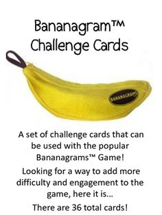 A set of 36 Challenge Cards to go with the popular game, Bananagrams!  If you are looking for a way to make the game more challenging and interesti...
