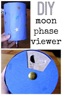 """Build a Moon Phase Viewer: Students create a viewer showing the different phases of the moon. They learn the phases in order by turning the viewer and revealing each phase. It also incorporates art and creativity by decorating their own. You can also shine a small flashlight through the bottom of the viewer to create a """"moon-like"""" simulation."""