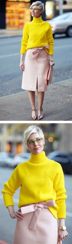 Yellow, Peach & Rose Gold for the Holidays - YLF Short Hair Glasses, Divas, You Look Fab, Corporate Chic, Gold Outfit, Peach Rose, Rose Gold, Cool Style, My Style