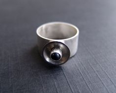 SALE Sterling Silver Wide Band Cup Ring w/ by ProximityInfatuation, $18.00