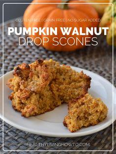 Low Carb Gluten Free Pumpkin Walnut Drop Scones