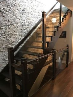 for a home in Toronto , red oak staircase with glass post to post system, open block staircases done by Home stairs and railings inc Stair Railing Design, Staircase Railings, Glass Stair Railing, Stairways, Open Stairs, Glass Stairs, Interior Railings, Interior Barn Doors, House Stairs