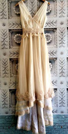 Taras nude blush  ivory chiffon organza alencon lace fishtail offbeat bride wedding dress by mermaid miss k