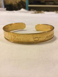 Vintage Avon Taurus Gold Tone Cuff Bracelet Signed Zodiac Horoscope | eBay