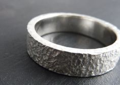 Rustic Distressed Mens Wedding Ring - Rough Around The Edges - Unisex Sterling Silver