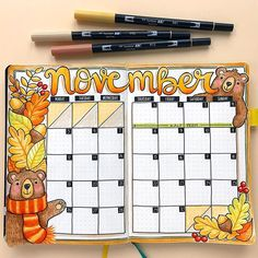 Memory keeping in my bullet journal Autumn bullet journal spread! November monthly bujo layout in my Scribbles that Matter dot grid journal. Bullet Journal Monthly Spread, Bullet Journal 2020, Bullet Journal Notebook, Bullet Journal Layout, Bullet Journal Inspiration, Bullet Journal Calendar Ideas, Types Of Bullet Journals, Journal Ideas, Bujo